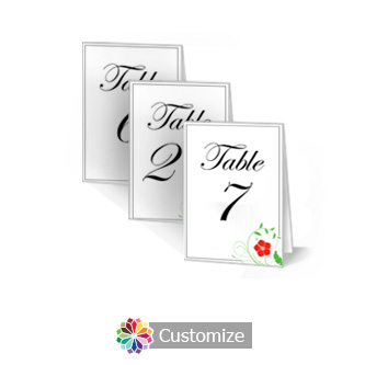 Floral 2.5 x 3.5 Folded Wedding Table Number