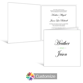 Floral 6 x 6 Square Folded Wedding Invitation