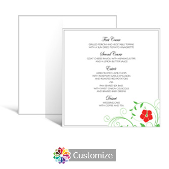 Floral 5.875 x 5.875 Square Wedding Menu