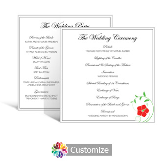 Floral 5.875 x 5.875 Square Wedding Program