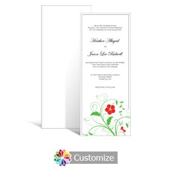 Floral 3.625 x 8.875 Tea-Length Wedding Invitation