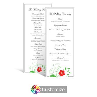 Floral 3.625 x 8.875 Tea-Length Wedding Program
