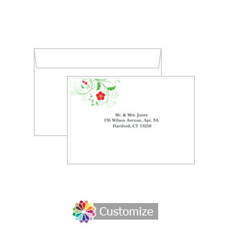 Custom Printing on Wedding Floral Response Card Envelopes