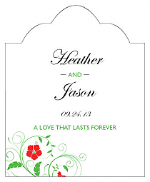 Flowers Scalloped Vertical Big Rectangle Wedding Labels