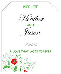 Flowers Wine Wedding Label