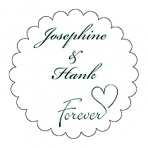 Forever Swirly Scalloped Circle Wedding Labels