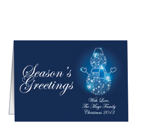 Personalized unique business christmas cards and corporate holiday christmas card w envelope 7875 x 550 frosty snowman blue snowman business style colourmoves