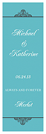 Glamorous Vertical Tall Rectangle Wine Wedding Label