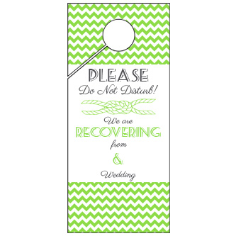 Green Chevron Wedding Door Hanger 4x9