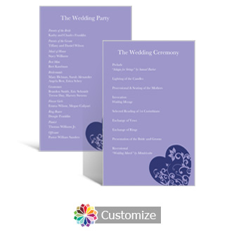 Hearts 5 x 7.875 Flat Wedding Program