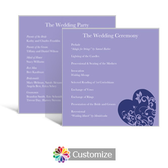 Hearts 5.875 x 5.875 Square Wedding Program