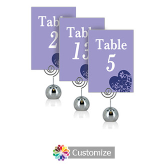 Hearts 3.5 x 5 Flat Wedding Table Number for Stand