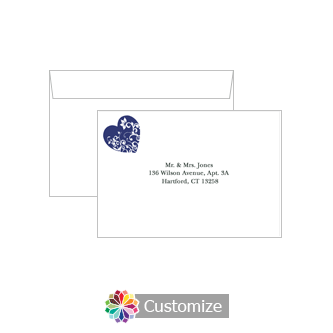 Custom Printing on Wedding Hearts Response Card Envelopes