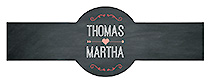 Hearts of Love Chalkboard Style Wedding Cigar Band Label