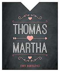 Hearts of Love Chalkboard Style Wine Wedding Label 3.25x4