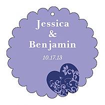 Hearts of Love Scalloped Circle Wedding Hang Tag