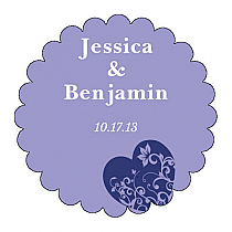 Hearts of Love Scalloped Circle Wedding Labels