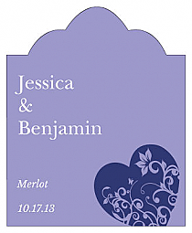 Hearts of Love Scalloped Vertical Big Rectangle Wedding Labels