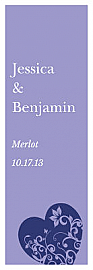 Hearts of Love Vertical Tall Rectangle Wine Wedding Label
