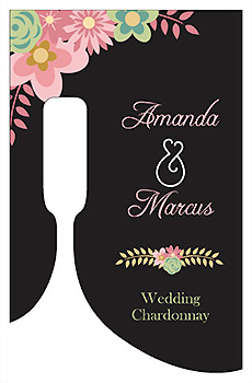 Customized Infinity Floral Wreath Bottom's Up Rectangle Wine Wedding Label