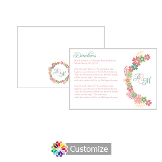Floral Infinity Floral Wreath 5 x 3.5 Directions Enclosure Card