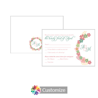 Floral Infinity Floral Wreath 5 x 3.5 RSVP Enclosure Card - Dinner Choice