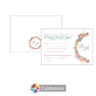 Floral Infinity Floral Wreath 5 x 3.5 RSVP Enclosure Card - Dinner Choice