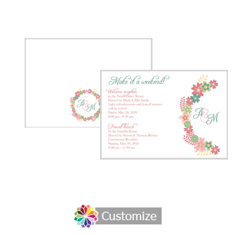 Floral Infinity Floral Wreath 5 x 3.5 Accomodations Enclosure Card