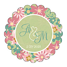 Infinity Floral Wreath Scalloped Circle Wedding Labels