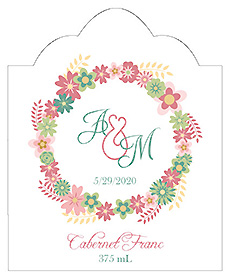 Infinity Floral Wreath Scalloped Vertical Big Rectangle Wedding Label