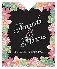 Infinity Floral Wreath Wine Wedding Label 3.25x4