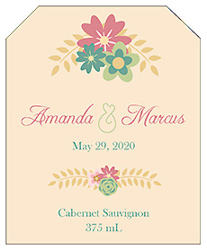 Infinity Floral Wreath Wine Wedding Label