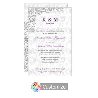 Iron Vine 5 x 7.875 Flat Card Wedding Invitation