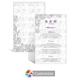 Iron Vine 5 x 7.875 Rectangle Wedding Flat Menu