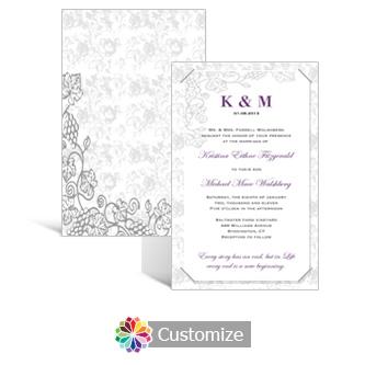 Iron Vine 5 x 7.875 Layered Rectangle w/Vellum Wedding Invitation