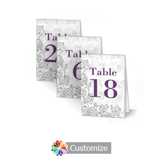 Iron Vine 2.5 x 3.5 Folded Wedding Table Number