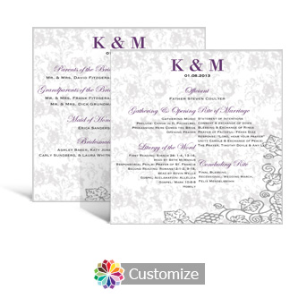 Iron Vine 5.875 x 5.875 Square Wedding Program