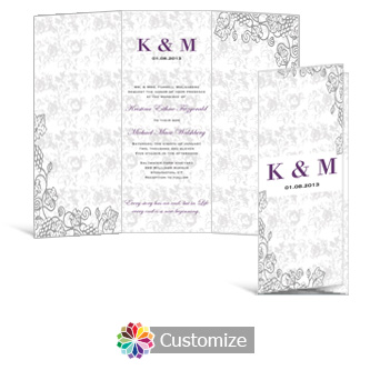 Iron Vine 3.625 x 8.875 Tri-Fold Wedding Invitation