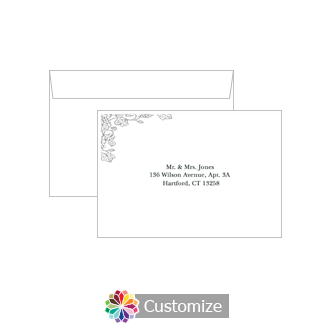 Custom Printing on Wedding Iron Vine Response Card Envelopes