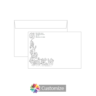 Iron Vine Wedding Thank you Cards Envelopes