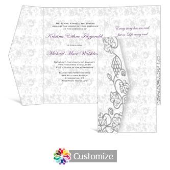 Iron Vine 5 x 7.875 Double Folded Wedding Invitation
