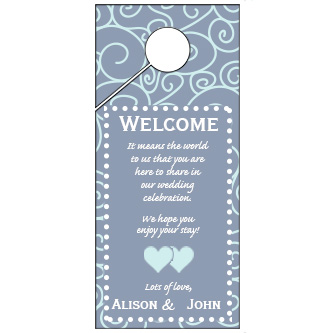 Light Black and White Swirl Pattern Wedding Door Hanger 4x9