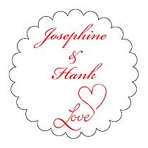 Love Swirly Scalloped Circle Wedding Labels