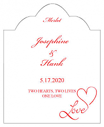 Love Swirly Scalloped Vertical Big Rectangle Wedding Labels