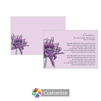 Floral Lovely Lavender 5 x 3.5 Directions Enclosure Card