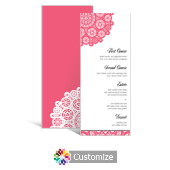 Bold Geometric 3.625 x 8.875 Tea-Length Wedding Menu