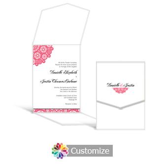 Bold Geometric 5.25 x 7.25 Vertical Gate-Fold Wedding Invitation