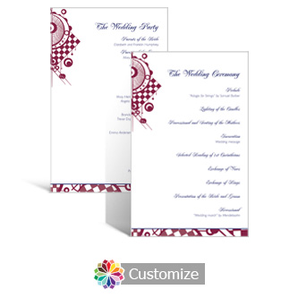 Checkered Orbs 5 x 7.875 Flat Wedding Program