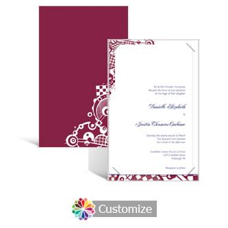 Checkered Orbs 5 x 7.875 Layered Rectangle w/Vellum Wedding Invitation