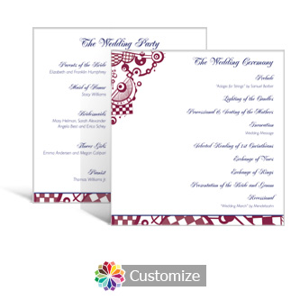 Checkered Orbs 5.875 x 5.875 Square Wedding Program